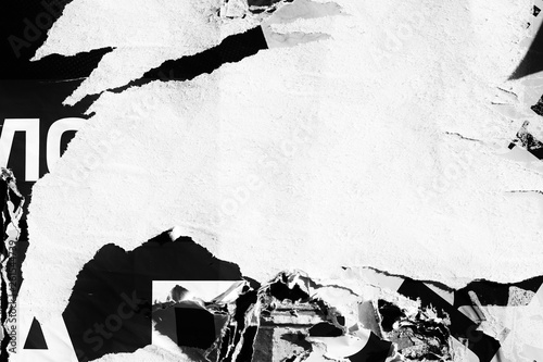 Obraz Blank white creased crumpled paper texture background old grunge ripped torn vintage collage posters placards empty space text - fototapety do salonu