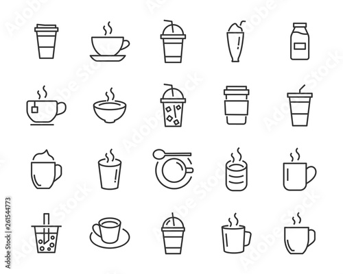 Obraz na plátně set of coffee icons, such as tea, drinks, cocoa, cup, cafe