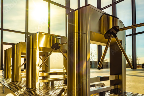 Checkpoint with chrome turnstiles Wallpaper Mural