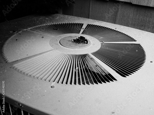 close view of air conditioning unit in black and white