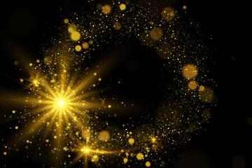Abstrakcjonistyczny magiczny tło z złotymi światłami i błyska