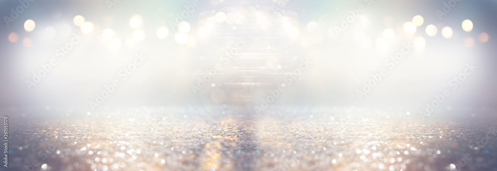 Fototapety, obrazy: glitter silver and gild lights background. de-focused