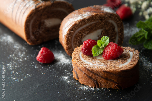 Valokuva Delicious chocolate roll sponge cake with vanilla cream and mint leaves