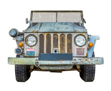 Wartime Military Truck On White