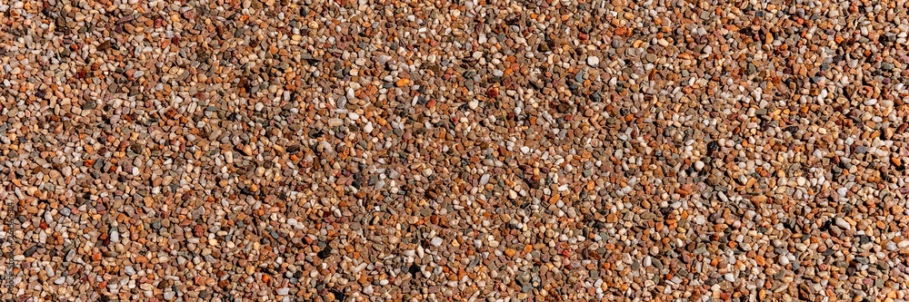 Fototapety, obrazy: The pattern small brown pebbles stone as background. Panoramic picture