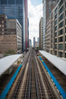 Chicago, USA: August 18, 2018: Elevated Railway Train and Station, Chicago