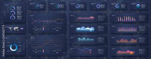 Infographic dashboard template with flat design graphs and pie charts Online statistics and data Analytics Fototapeta