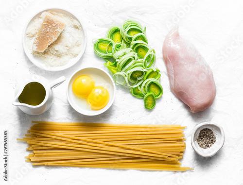 Fotografie, Obraz  Chicken, leek, linguine pasta, parmesan cheese, eggs yolks, olive oil - ingredie