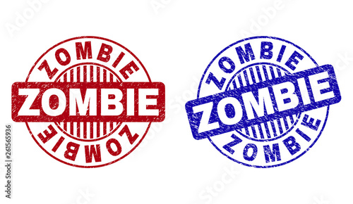 Photo  Grunge ZOMBIE round stamp seals isolated on a white background