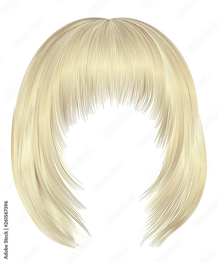 Fototapeta trendy  woman  hairs bob kare with fringe  . light  blond  colors . medium length . beauty style . realistic  3d .