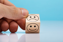 Sad And Happy Face Wooden Bloc...
