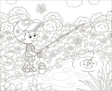 Little Boy Fisherman With A Fi...