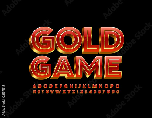 Photo  Vector luxury sign Gold Game with luxury red Alphabet Letters and Number