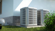 canvas print picture - Air heat pumps beside house, 3D illustration