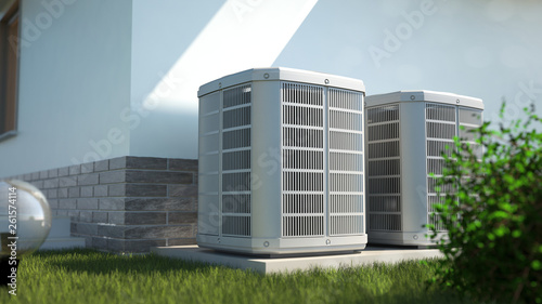 Fototapeta Air heat pumps beside house, 3D illustration obraz