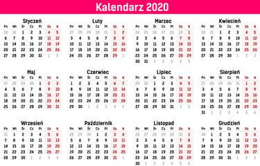 Prosty szablon kalendarza na rok 2020 i 2021. Ilustracja wektorowa płaski kolor stylu. Roczny szablon kalendarza. Orientacja pionowa. Zestaw 12 miesięcy.