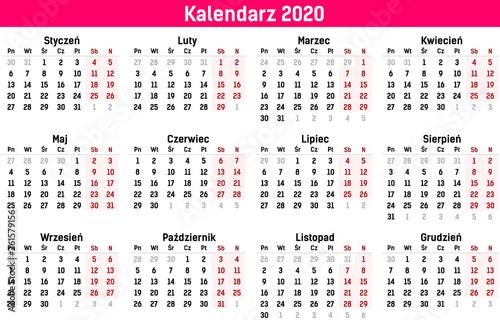 Obraz Prosty szablon kalendarza na rok 2020 i 2021. Ilustracja wektorowa płaski kolor stylu. Roczny szablon kalendarza. Orientacja pionowa. Zestaw 12 miesięcy. - fototapety do salonu