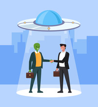 Alien And Human Business Man Character Shaking Hand And Making Deal. Intergalactic Planets Space Friendship And Partnership Concept. Vector Flat Cartoon Graphic Design Illustration