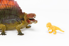Two Toy Dinosaurs On An Isolated White Background