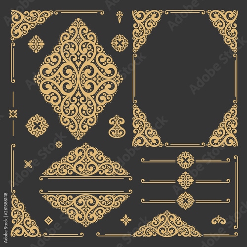 Black and gold luxury vector set of vintage elements Canvas Print