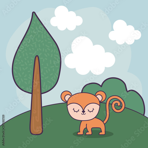 cute monkey in landscape scene