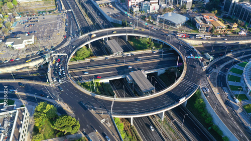 Foto auf Leinwand Dunkelgrau Aerial drone photo of multilevel highway junction urban ring crossing road during rush hour