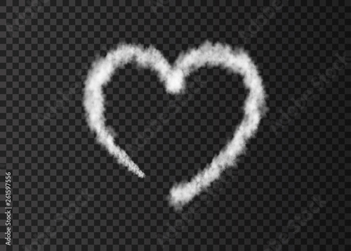 White smoke  plane  heart trail isolated on transparent background.