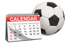 Soccer Ball With Calendar, Soccer Events Calendar Concept. 3D Rendering