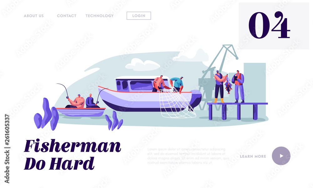 Fototapeta Fishermen Working on Large Boat Ship Catching Fish, Pulling Fishing Net from Sea, Giving Catch to Customer, Fishing Industry. Website Landing Page, Web Page. Cartoon Flat Vector Illustration, Banner