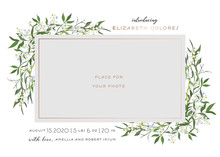 Baby Born Greeting Card With Floral Elements. Baby Shower Template Photo Frame With Lily Flowers. Newborn Child, Wedding Invitation Save The Date Card With Wreath, Leaves. Vector Illustration