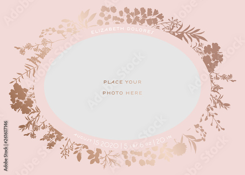 Fototapeta Baby Shower Greeting Card With Floral Frame Newborn Child Party Invitation Template With Place For Baby Photo And Golden Flowers Wedding