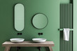 canvas print picture - Double sink in green bathroom