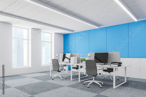 Blue wall contracted office corner