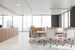 White and wooden office conference room