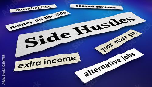 Fototapeta Side Hustles Second Gigs Jobs News Headlines 3d Illustration obraz