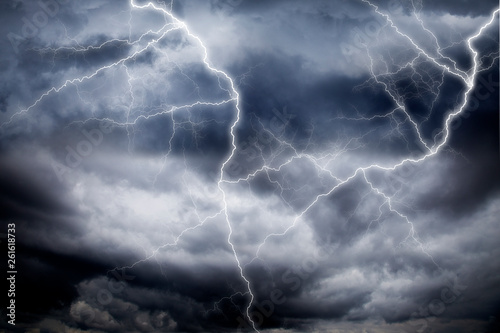 Poster Onweer Thunderstorm lightning with dark cloudy sky