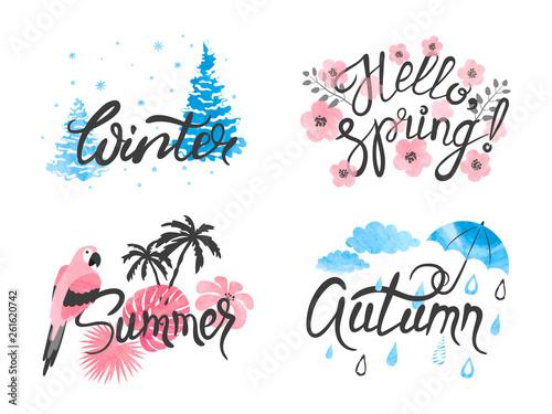 Fotografie, Obraz  Four Seasons - winter, spring, summer, autumn