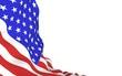 Leinwandbild Motiv Waving flag of the United States of America. Stars and Stripes. State symbol of the USA. 3D illustration