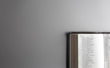 Single Bible Open On A Gray Background