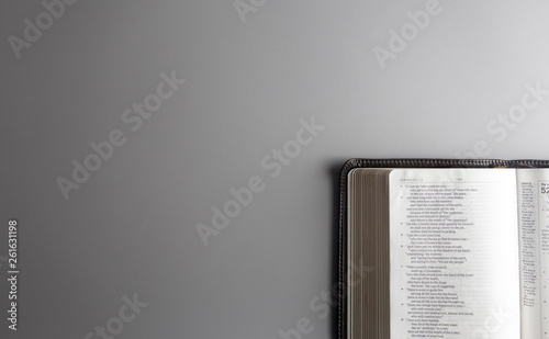 Photo  Single Bible Open on a Gray Background