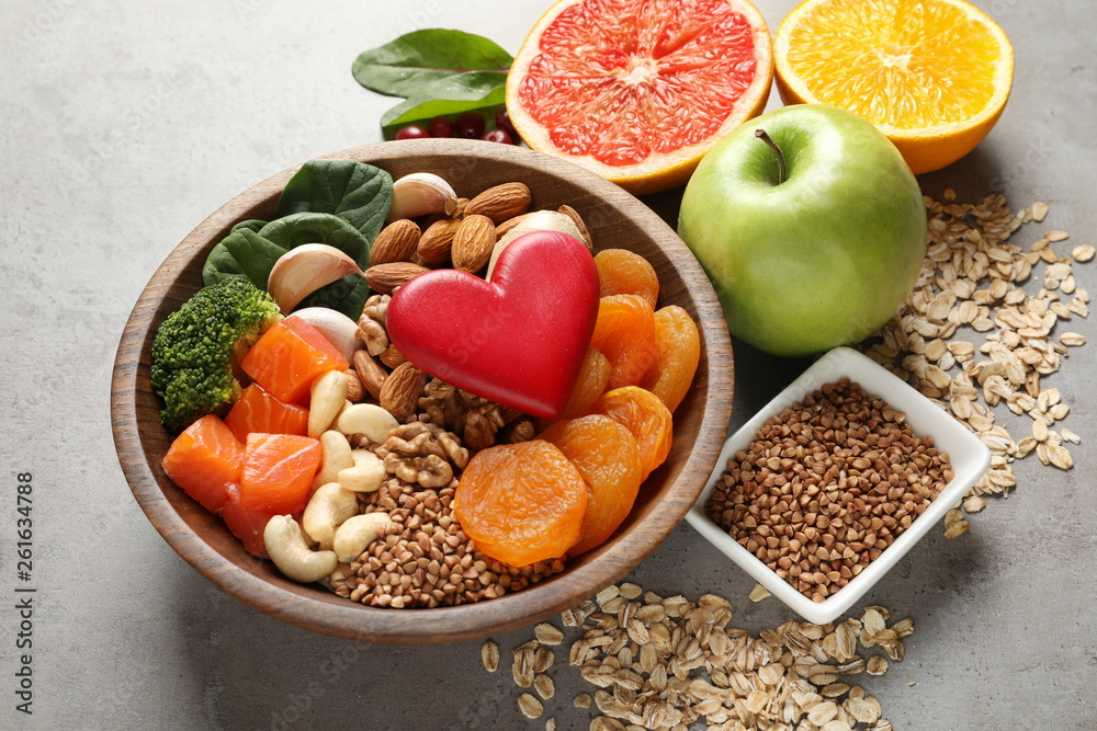 Fototapety, obrazy: Composition with heart-healthy products on grey background