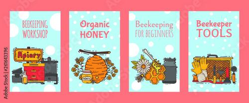 Beekeeping set of banners, apiary vector illustration Wallpaper Mural