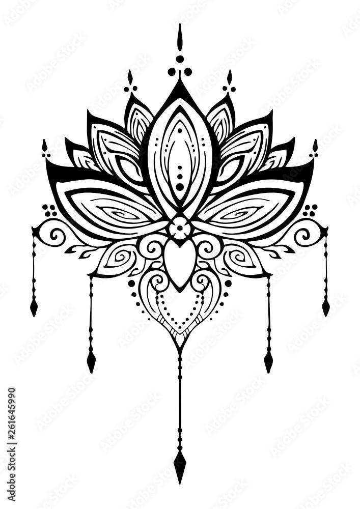 Fototapeta Lotus flower henna ornamental ethnic zen tangle  motif tattoo vector