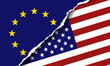Vector illustration of America and Euro flag symbols. The concept of trade and relationships.
