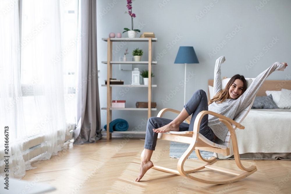 Fototapety, obrazy: Full-length body gorgeous good-looking attractive pretty lady with her beaming smile she stretch oneself indoor cosy modern room.
