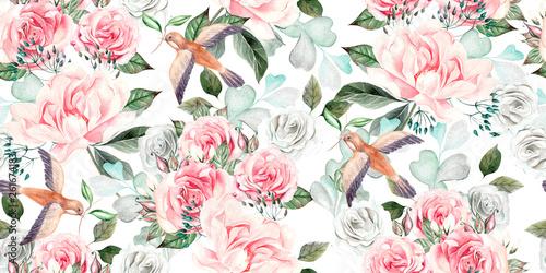 Piękny wzór akwarela bezszwowe wesele z eucaluptys, piwonia i róża.
