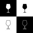 Set Wine glass icons isolated on black and white background. Wineglass sign. Line, outline and linear icon. Vector Illustration