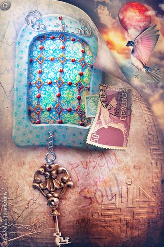 Deurstickers Imagination Paesaggio incantato e fiabesco con finestra gotica e misteriosa, francobollo e chiave