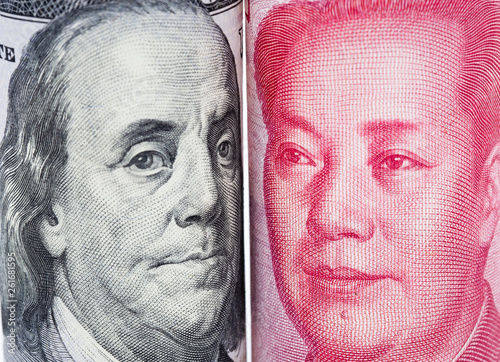 Closeup face to face of Benjamin Franklin and Mao tse tung from US dollar and China Yuan banknotes Tapéta, Fotótapéta