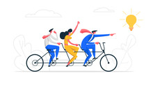 Creative Idea Teamwork Concept. Business Team Riding Tandem Bicycle. Businessman And Businesswoman Characters On Bike. Cooperation Leadership Metaphor. Vector Flat Cartoon Illustration